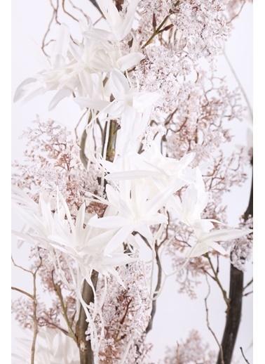 Kibrithane Çiçek Yapay Ağaç Beyaz Yapraklı Dekoratif Ağaç Kc00300019 Renkli